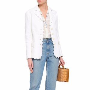 Tory Burch Scalloped Cotton-Jacquard Blazer Size 4